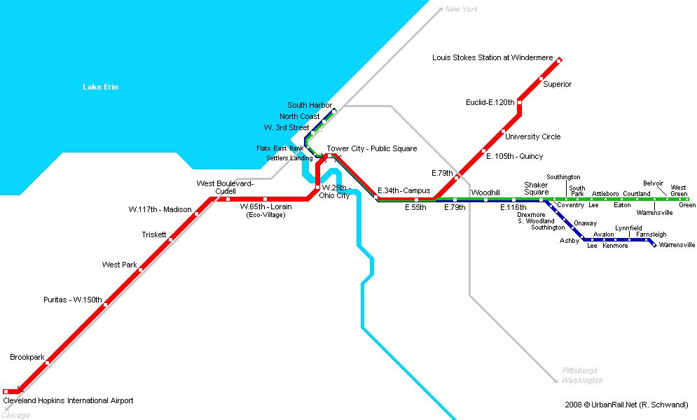 Map of metro in Cleveland
