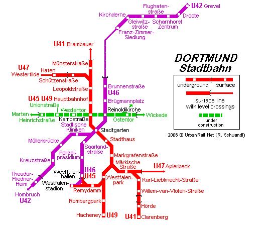 mapa del metro de Dortmund