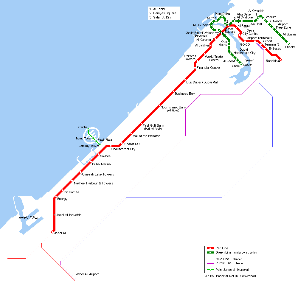 Map of metro in Dubai