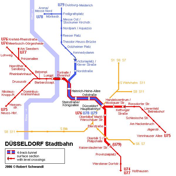 mapa del metro de Dusseldorf