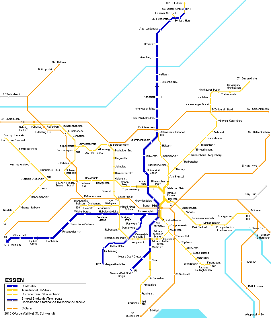 Map of metro in Essen