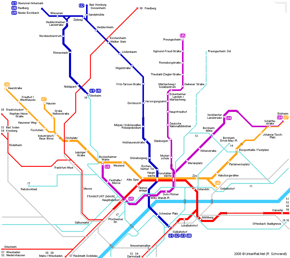 Frankfurt am Main Subway Map for Download Metro in Frankfurt am