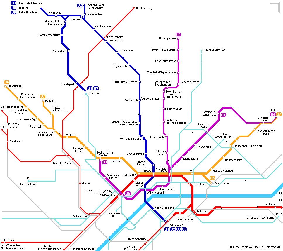 mapa del metro de Fráncfort del Meno