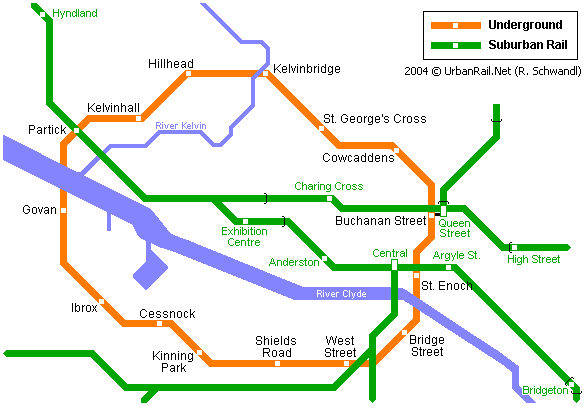 Central Subway Map.Glasgow Subway Map For Download Metro In Glasgow High Resolution
