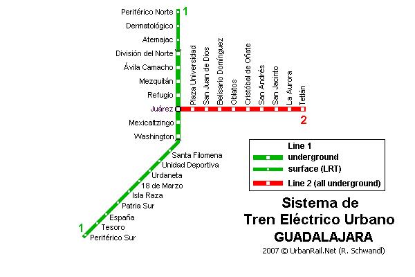 Guadalajara Subway Map for Download Metro in Guadalajara High