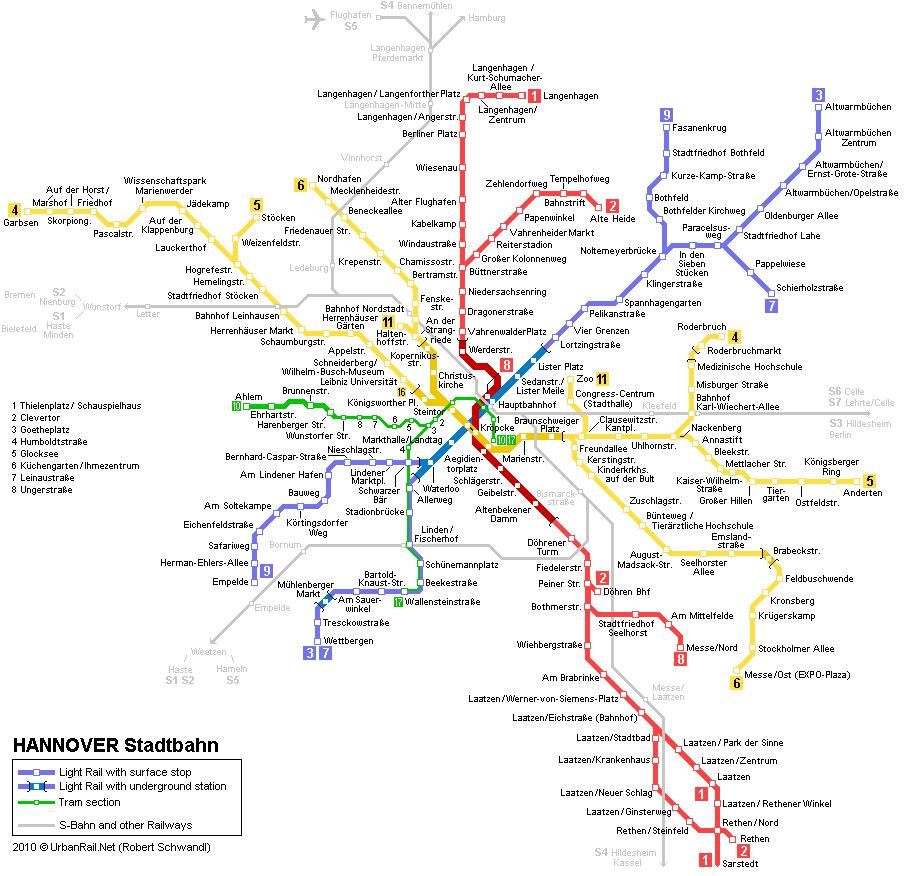 mapa del metro de Hannover
