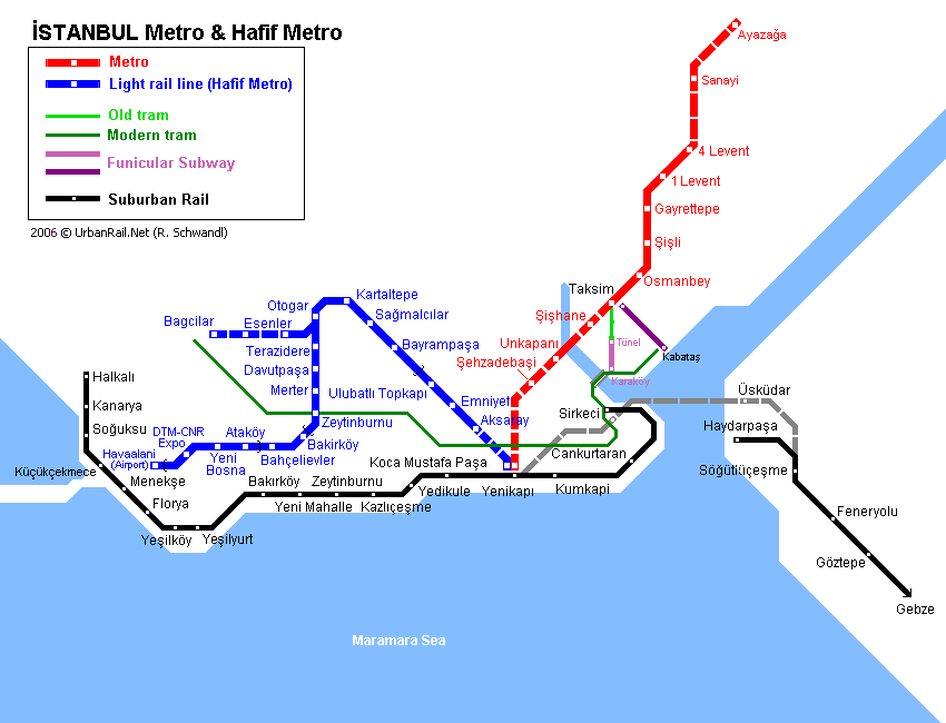 Map of metro in Istanbul