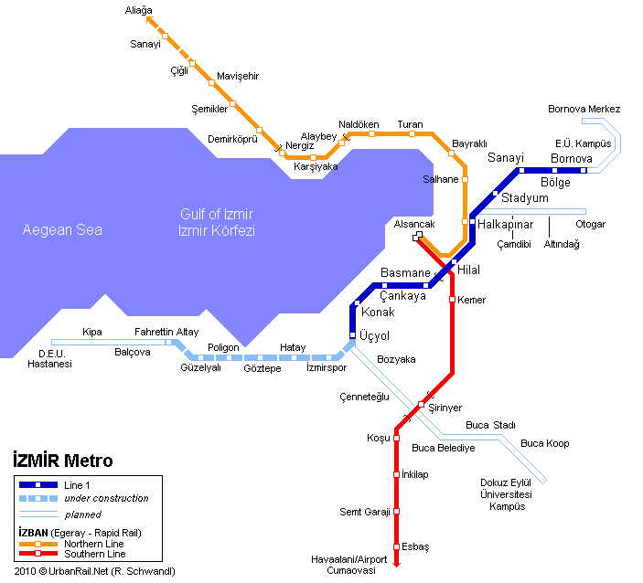 Map of metro in Izmir