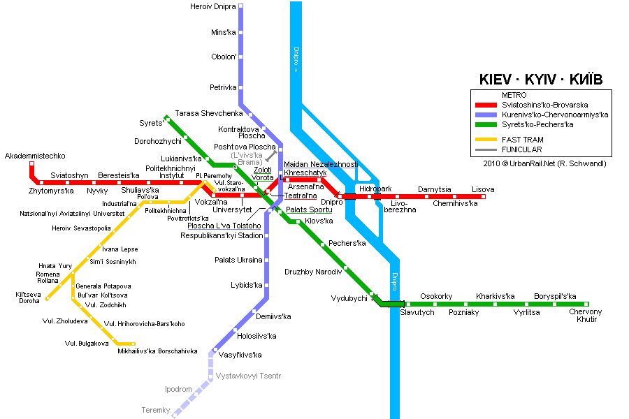 Map of metro in Kiev
