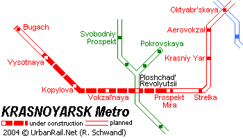 Map of metro in Krasnoyarsk