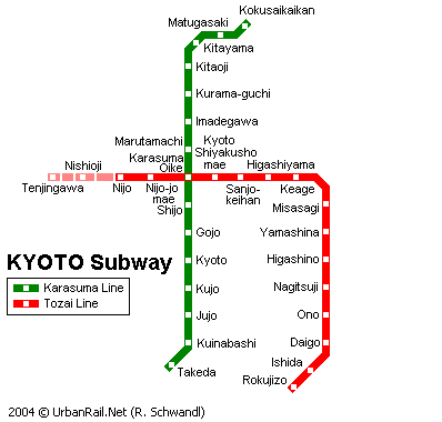 Map of metro in Kyoto