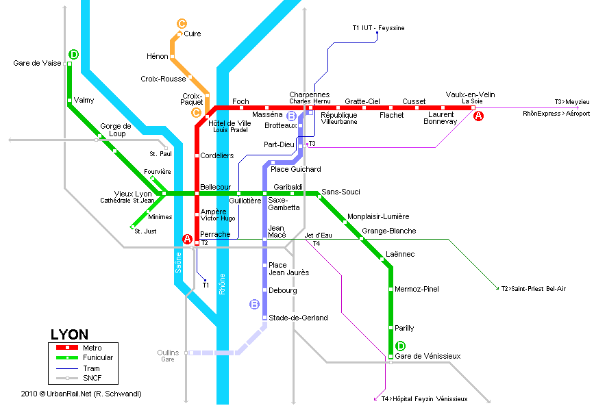 Lyon Subway Map for Download | Metro in Lyon   High Resolution Map