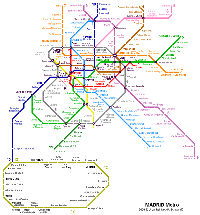 Map of metro in Madrid