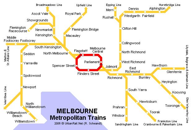 mapa del metro de Melbourne