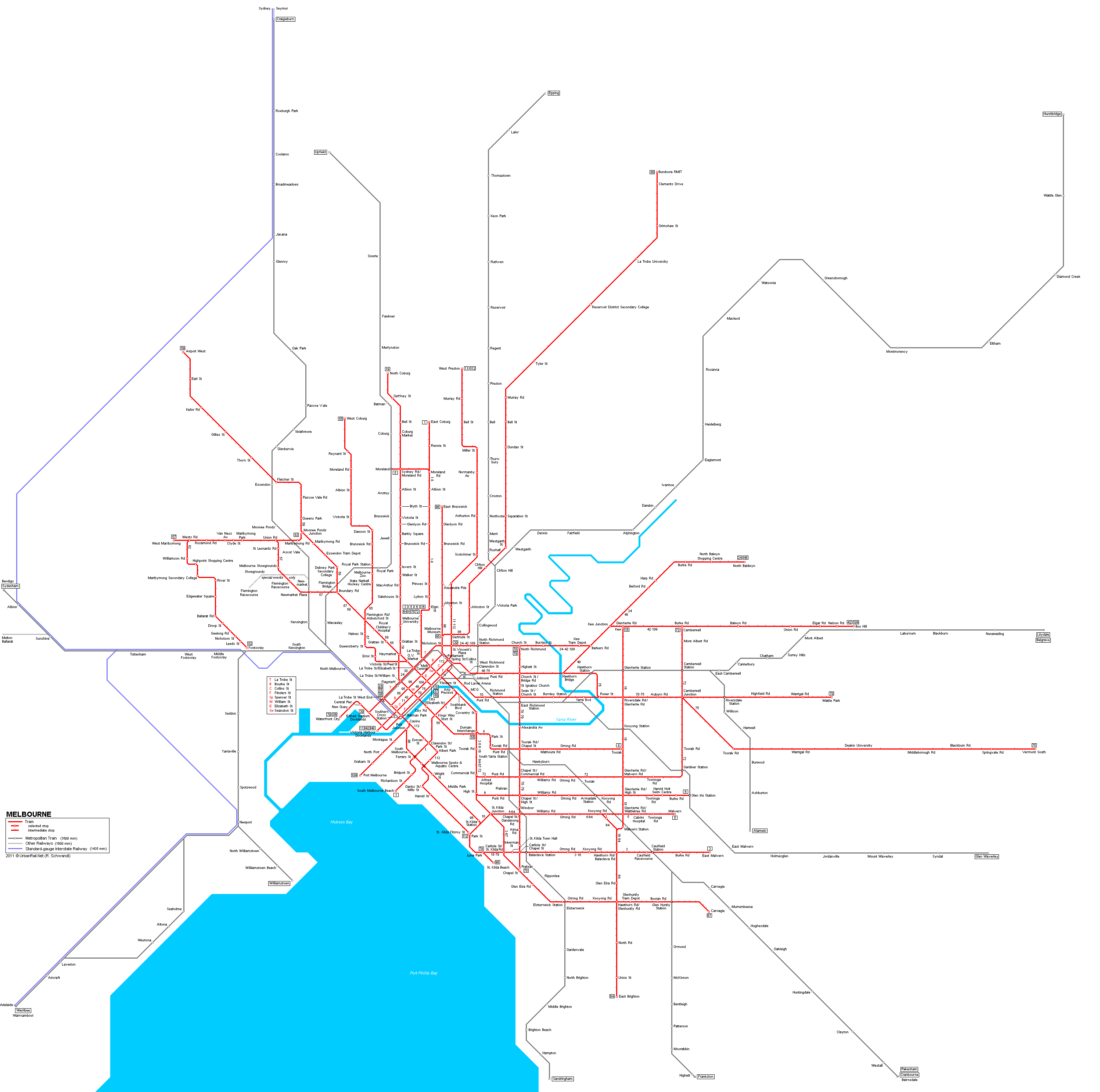 Melbourne Subway Map For Download Metro In Melbourne High