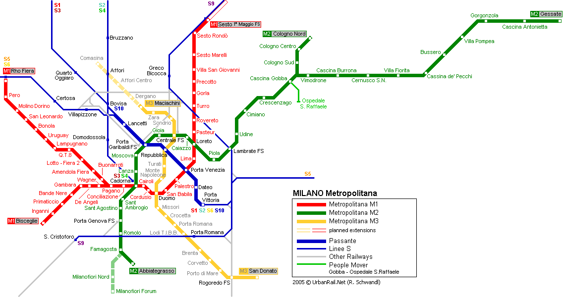 Map of metro in Milan