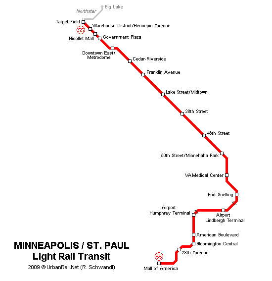 U-Bahn-Plan von Minneapolis