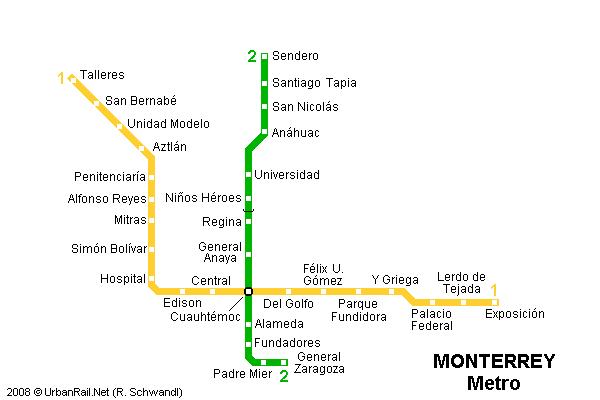 U-Bahn-Plan von Monterrey