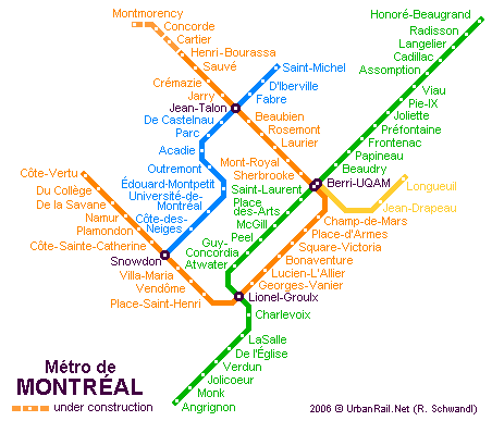 Subway Map Montreal Canada Montreal Subway Map for Download | Metro in Montreal   High