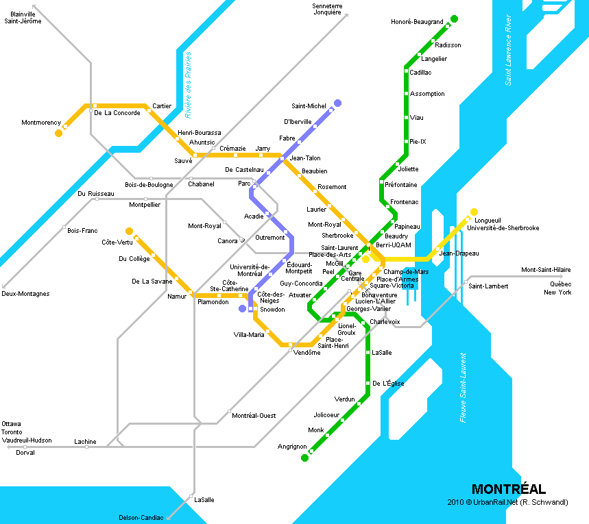 Subway Montreal Map.Montreal Subway Map For Download Metro In Montreal High Resolution Map Of Underground Network