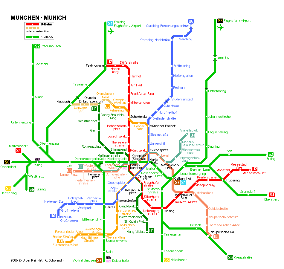 Map of metro in Munich