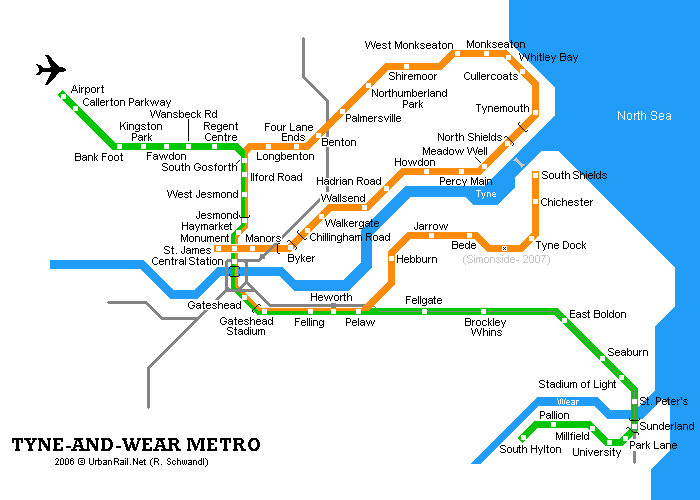 Map of metro in Newcastle