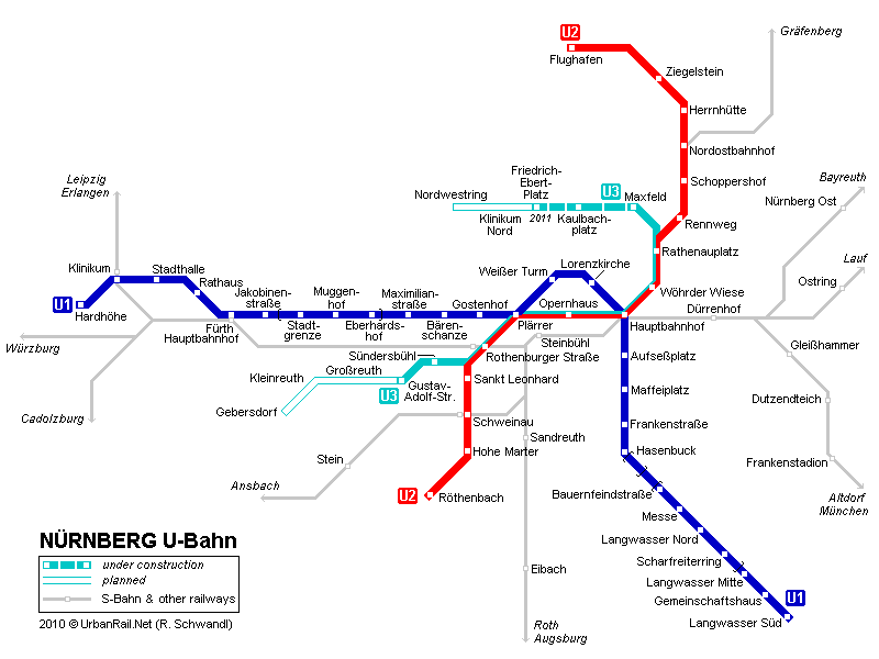 Map of metro in Nurnberg