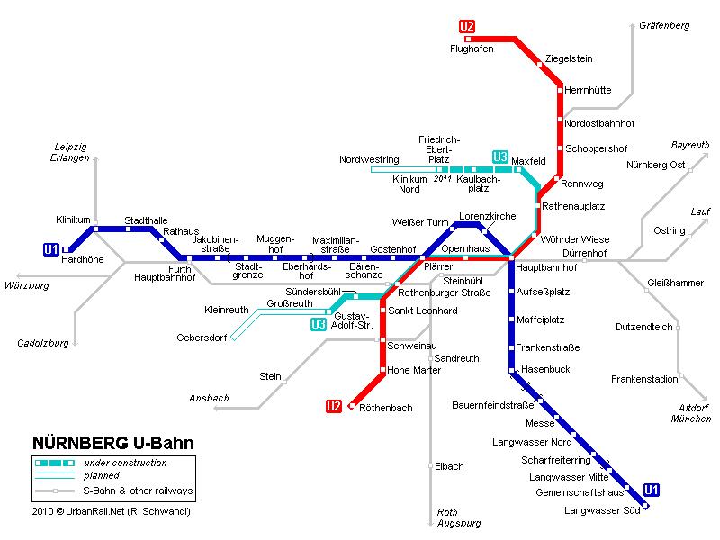 mapa del metro de Núremberg