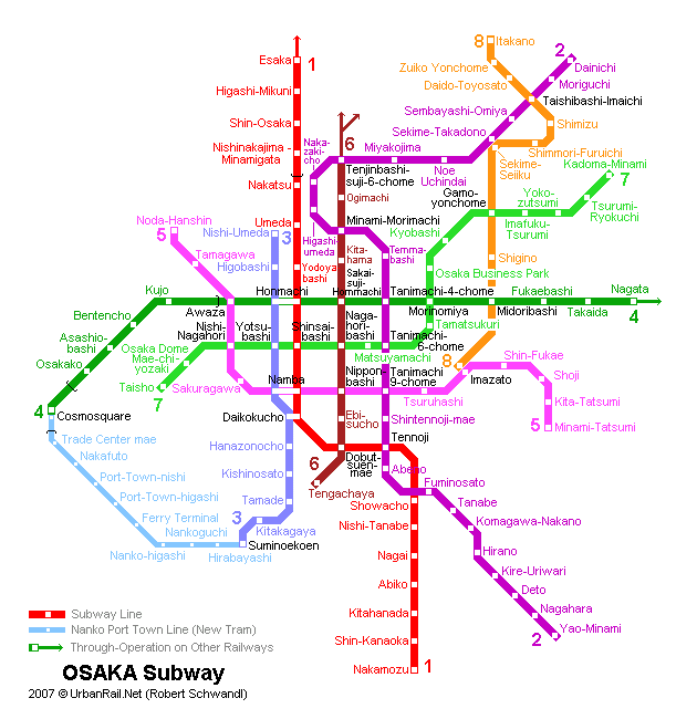Map of metro in Osaka
