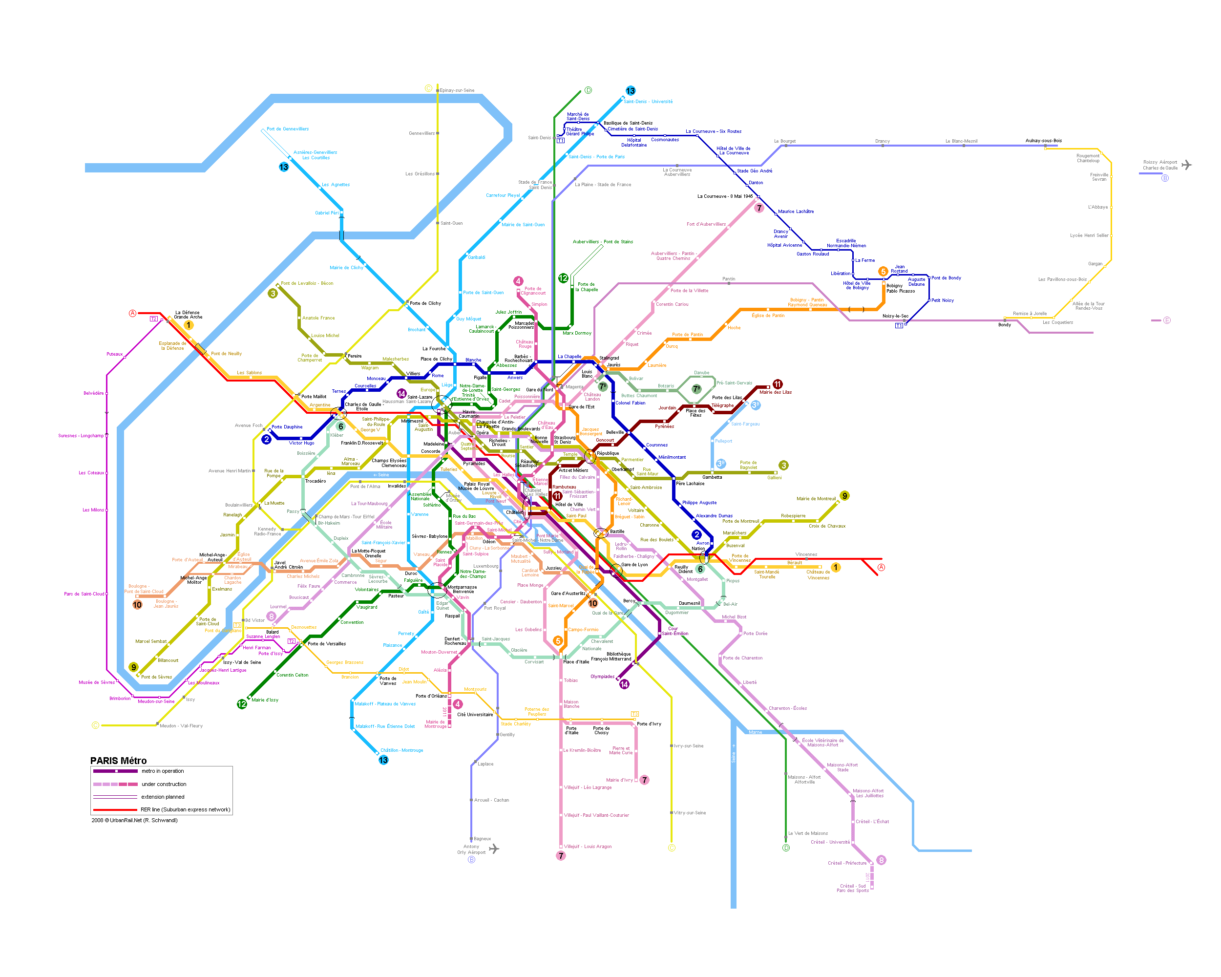 Paris Subway Map for Download Metro in Paris HighResolution Map