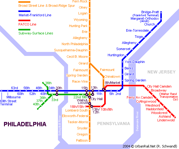 Map of metro in Philadelphia