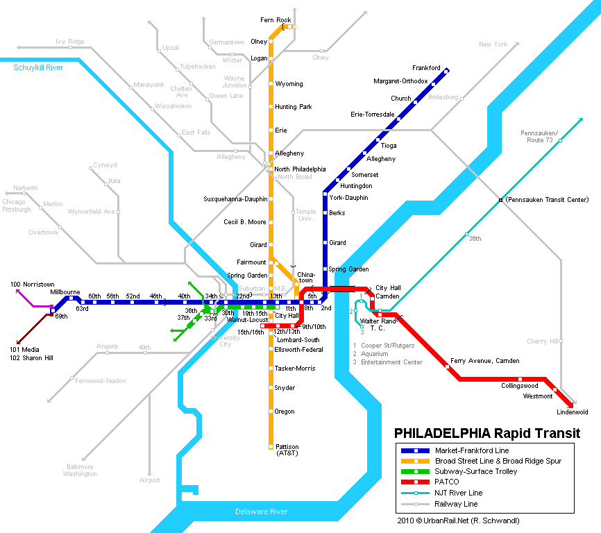 Philadelphia Subway Map for Download | Metro in Philadelphia