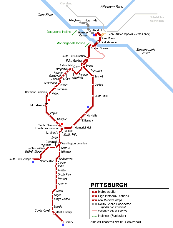 Pittsburgh Subway Map for Download | Metro in Pittsburgh   High