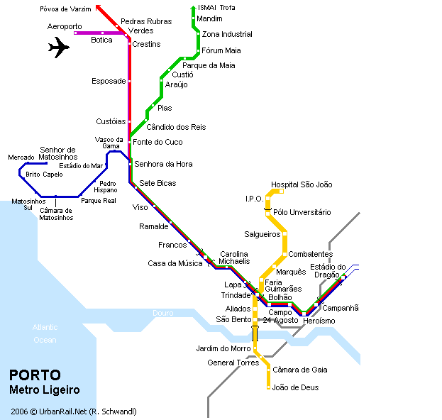 Subway Map Of Lisbon.Porto Subway Map For Download Metro In Porto High Resolution Map