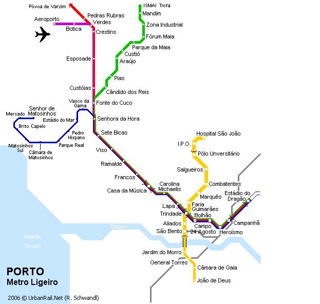 Porto Metro Map Porto Subway Map for Download | Metro in Porto   High Resolution