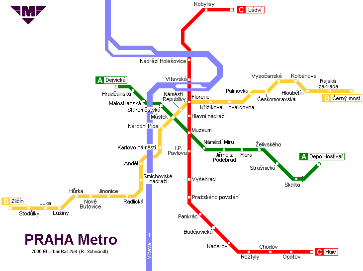 Map of metro in Prague