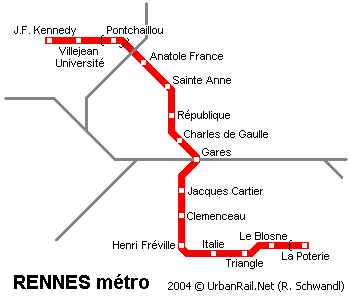 Rennes Map Of France.Rennes Subway Map For Download Metro In Rennes High Resolution