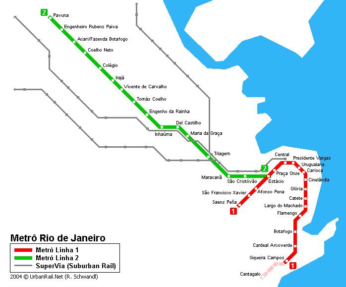 Rio De Janeiro Karte.Rio De Janeiro U Bahnkarte Detaillierte Karte Der