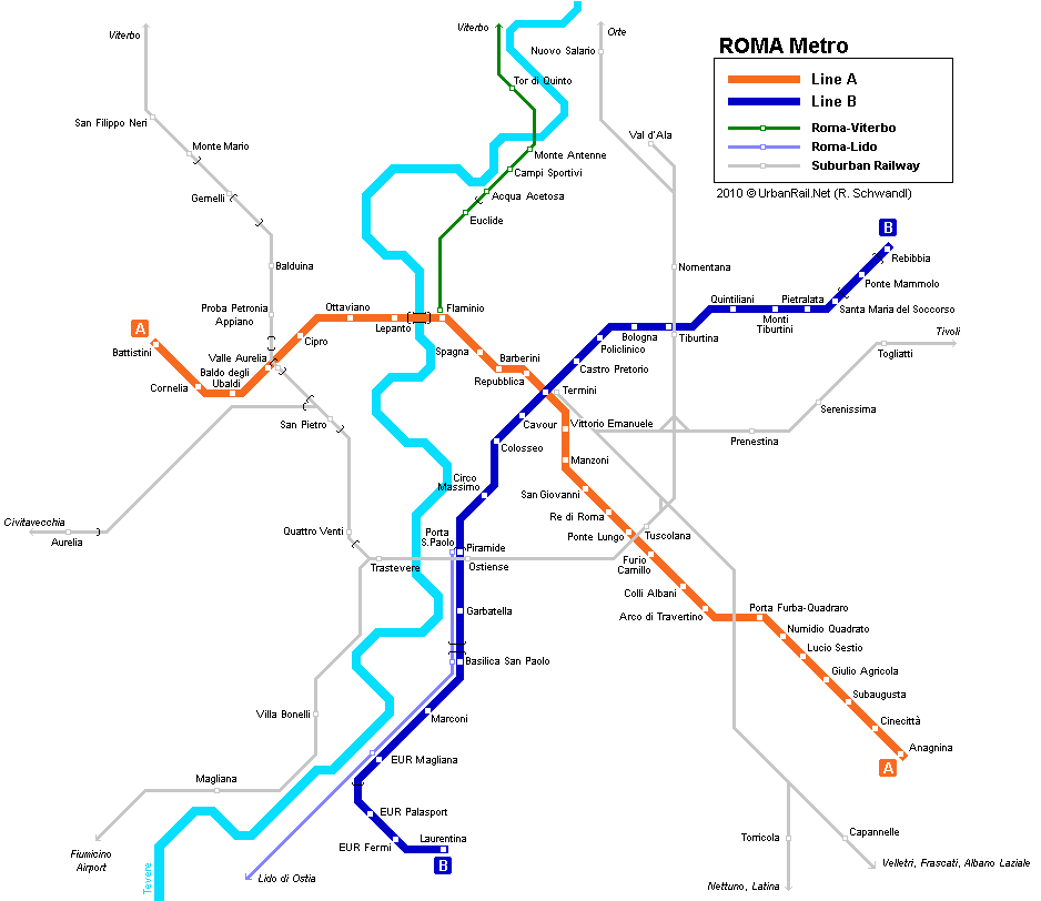 Rome Subway Map for Download | Metro in Rome   High Resolution Map