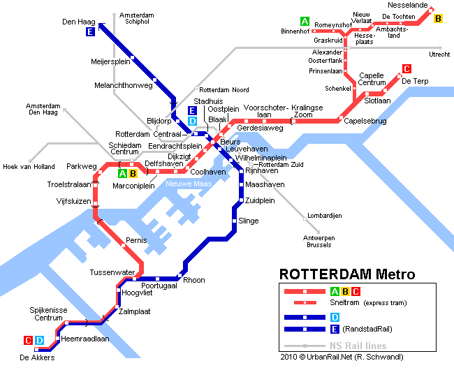 Map of metro in Rotterdam
