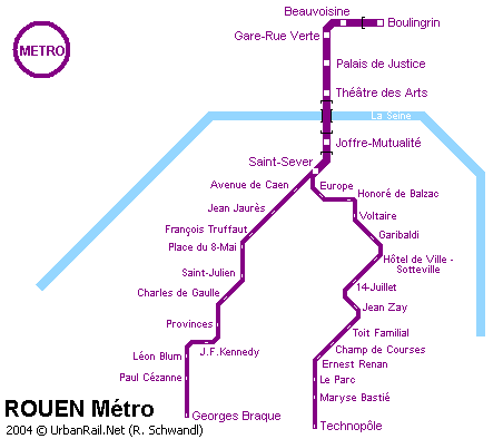 Rouen Subway Map for Download | Metro in Rouen   High Resolution