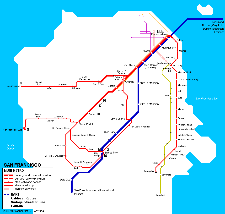 San Jose Subway Map.San Francisco Subway Map For Download Metro In San Francisco