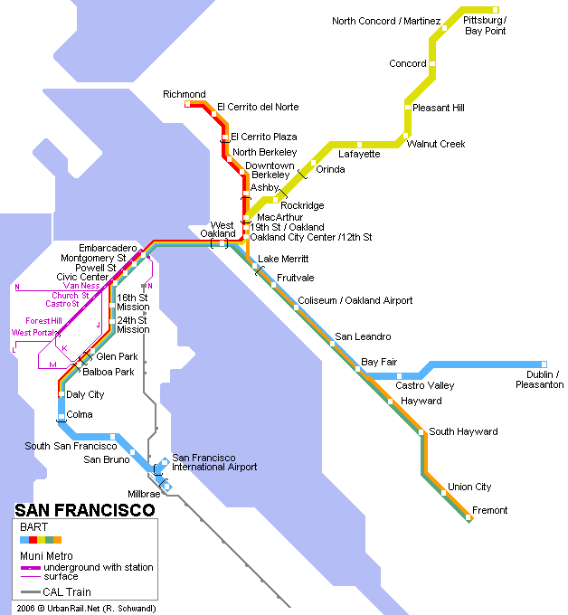 San Francisco Subway Map for Download   Metro in San ...
