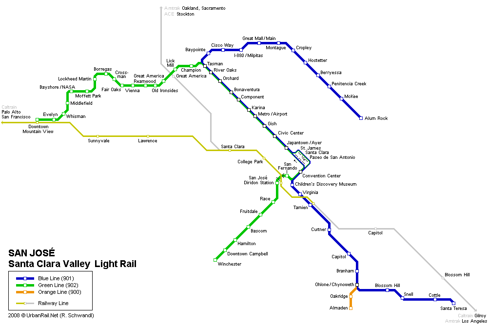 San Jose Subway Map for Download | Metro in San Jose - High ...