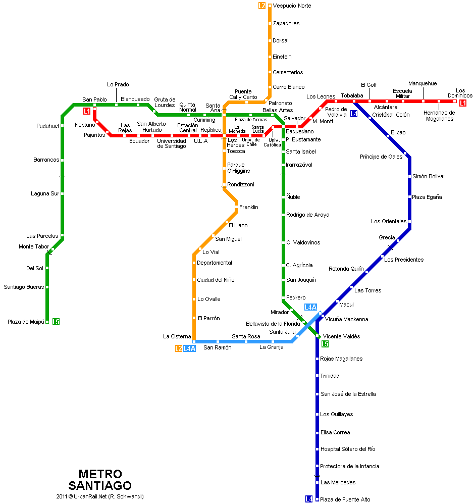 Santiago Subway Map for Download Metro in Santiago High