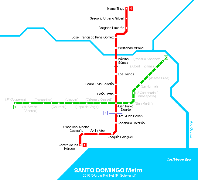 Santo Domingo Subway Map for Download Metro in Santo Domingo