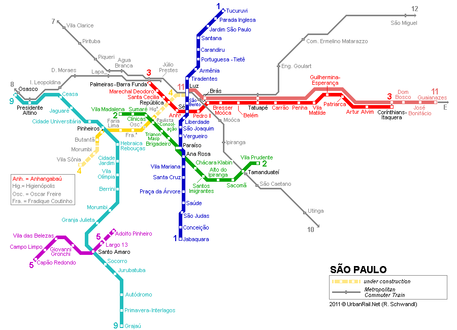 Sao Paulo Subway Map for Download Metro in Sao Paulo High