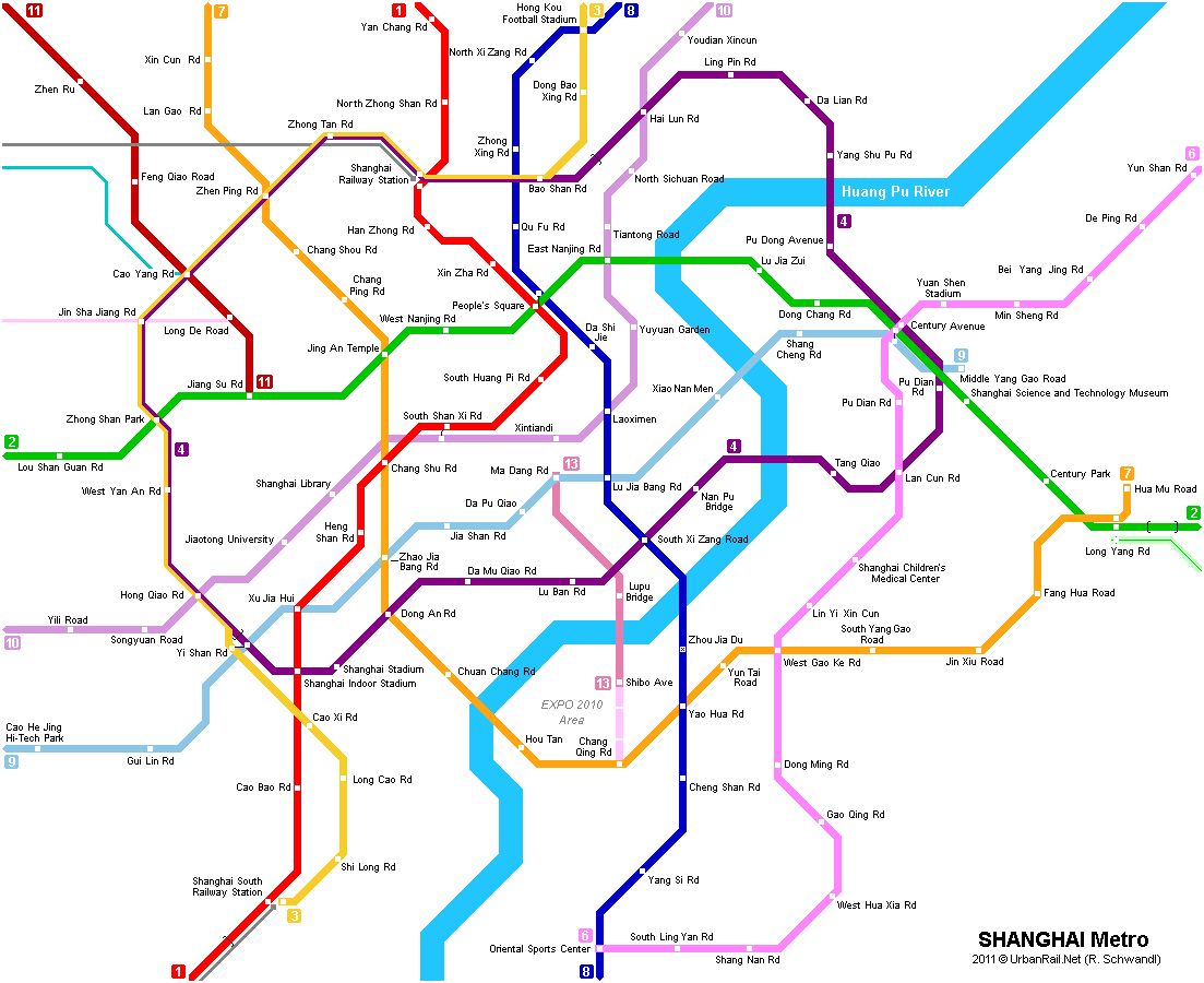 Map of metro in Shanghai