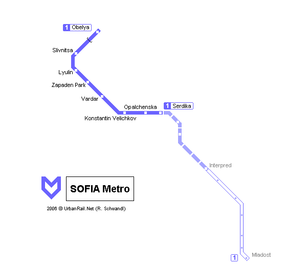 Map of metro in Sofia