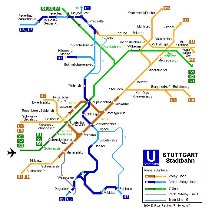 mapa del metro de Stuttgart